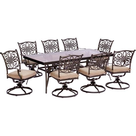 hanover traditions 9 aluminum outdoor dining set