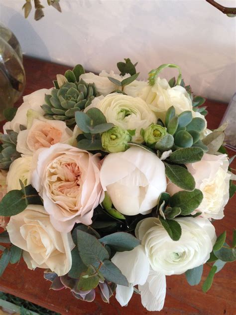 Spring Bridal Bouquet Blush Pink White And Mint Green