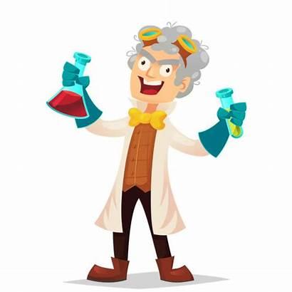 Mad Crazy Scientist Cartoon Funny Vector Professor