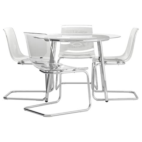 glass table with 4 chairs salmi tobias table and 4 chairs glass transparent 105 cm