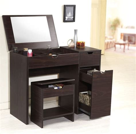 makeup desk with small modern brown laminate makeup vanity table with