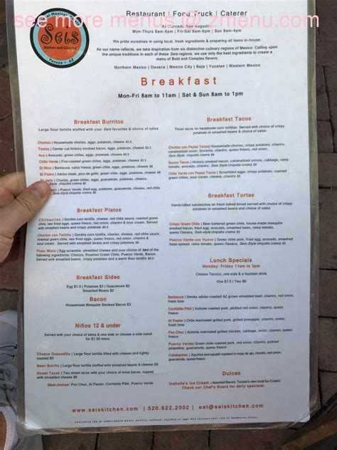 menu cuisine az menu of seis kitchen and catering restaurant tucson arizona 85745 zmenu