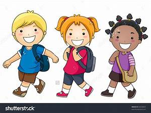 stock-vector-a-small-group-of-kids-walking-to-school ...