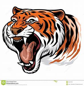 Roaring angry tiger stock vector. Image of classic, paws ...