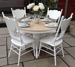 Shabby And Chic : top 50 shabby chic round dining table and chairs home decor ideas ~ Markanthonyermac.com Haus und Dekorationen