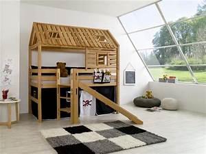 Hochbett Mit Dach : hochbett spielbett spielhaus toms h tte buche massiv rutsche dach vorhang pirat ~ Markanthonyermac.com Haus und Dekorationen