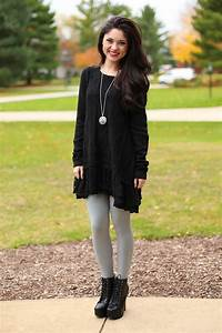 Black Sweater Dress With Leggings And Boots - Sweater Vest