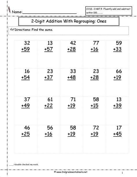 1st grade math worksheet subtraction with regrouping two digit addition with regrouping ones to tens place