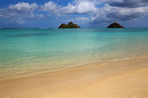 Lanikai Beach With Mokulua Islands Known Also As Twin