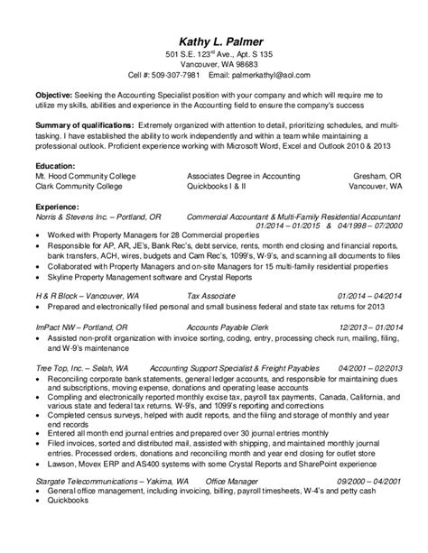 Accounting Specialist Resume by Kathy L Palmer Resume Accounting Specialist