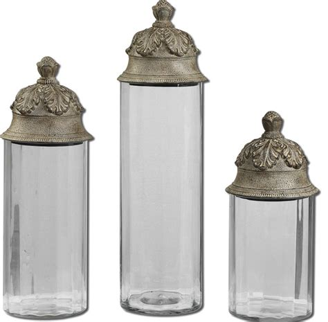 kitchen decorative canisters acorn glass cylinder canisters set of 3 traditional