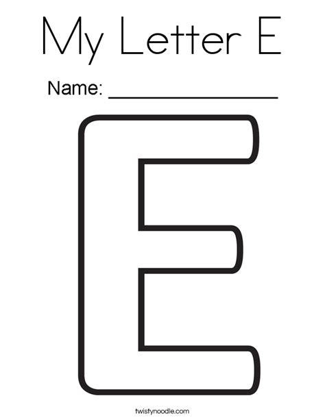 Coloring Letter E by My Letter E Coloring Page Twisty Noodle