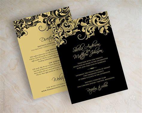 Black and gold wedding invitations victorian filigree design