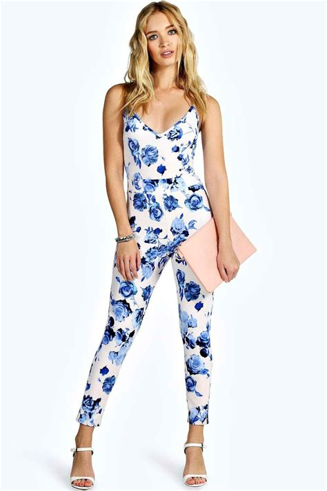 flower jumpsuit strappy stretch crepe floral jumpsuit at boohoo com