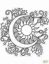 Moon Sun Coloring Stars Printable Mandala Pop sketch template