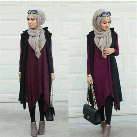 pin oleh chikita oviandara  hijab ootd model pakaian hijab gaya hijab model pakaian