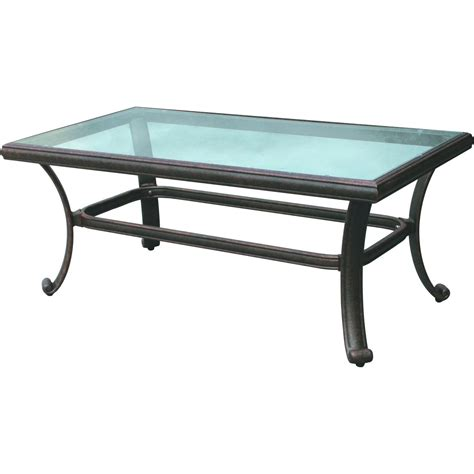 Darlee Classic 42 X 24 Inch Cast Aluminum Patio Coffee Table With Glass Top : Ultimate Patio