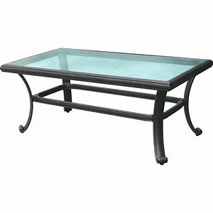 Darlee classic 42 x 24 inch cast aluminum patio coffee for Glass top patio coffee table