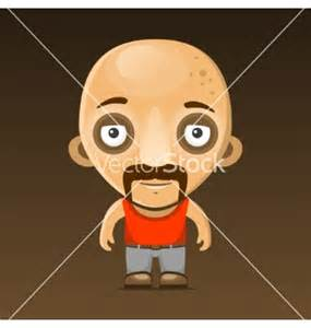 Cartoon Character Bald with Mustache
