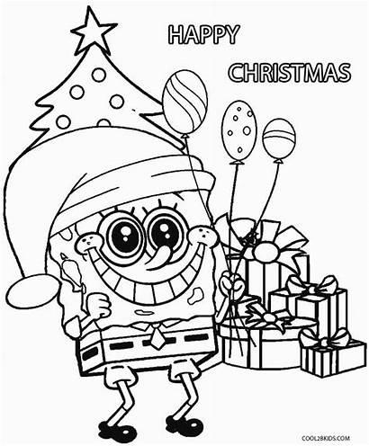 Coloring Pages Christmas Cartoon Characters Printable Spongebob