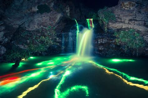 neon waterfalls   coolest  youll