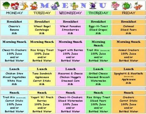 finding ideas   meals   kids  day care menus  friendly faces daycare