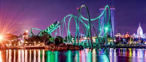 Orlando roller coaster at night