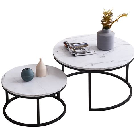 Mallory rectangular cocktail coffee table is represented by famous. 2 Piece Set Nesting Round Coffee Table Modern Unique Design Overlapping End Table - Walmart.com ...