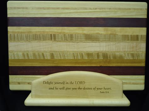 cutting board display stand engraved wpsalm