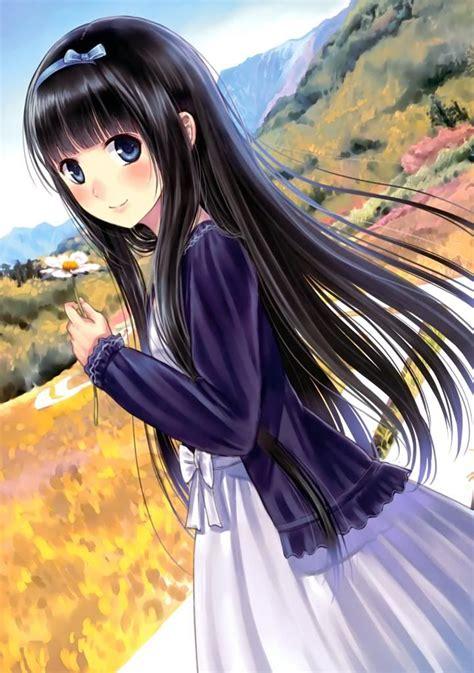 young anime girl black hair blue eyes anime girls
