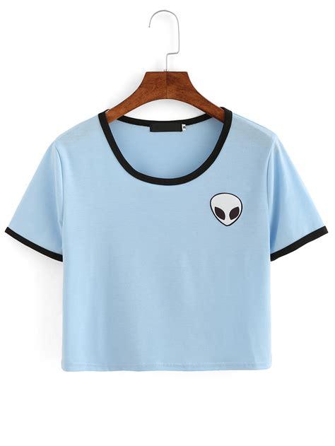 materiel cuisine discount t shirt imprimé col rond bleu romwe
