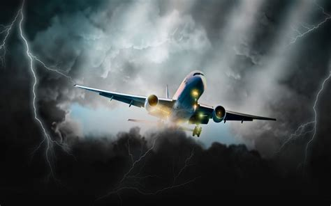 aviation dark storm clouds lightning art hd wallpaper