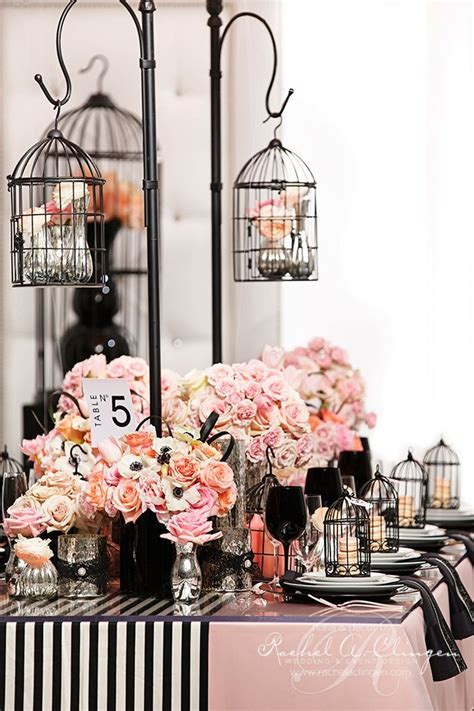 chanel themed bridal shower centerpieces tablescapes