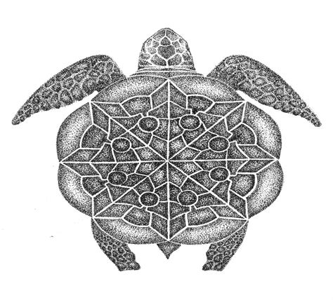 gorgeous dotwork turtle  mandala shell tattoo design