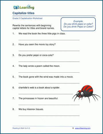 grade  capitalization worksheets  learning