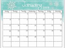 January 2019 Calendar Pretty Free Printable Blank Calendar