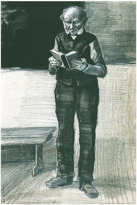 man standing reading  book  vincent van gogh