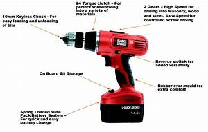 Black Decker Epc148bk 14 4 V Nicd Cordless Hammer Drill  2 Batteries And Kitbox   Amazon Co Uk