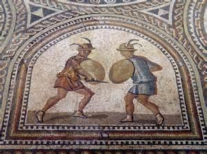 Mosaic Roman Gladiator Swords
