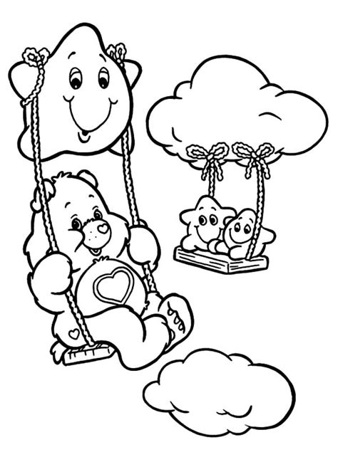 care bears swinging  star coloring pages  place  color