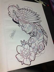 Santa muerte girl with pink peacock on head tattoo design ...