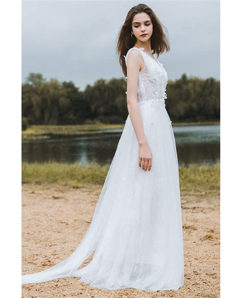 Flowy A Line Lace Beach Wedding Dress Boho Low Back 2018