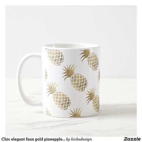 We have all the different types of top rated coffee mugs glossy material is very easy to clean for wipe and hand washed, convenience and save your time. Chic elegant faux gold pineapple coffee time coffee mug   Zazzle.com   Gold pineapple, Modern ...