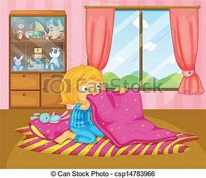 Clip Art Vector of A girl folding her blanket ...