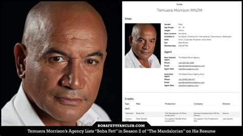 "Temuera Morrison's Agency Lists ""Boba Fett"" in Season 2 of ..."