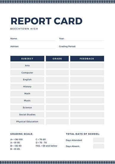 customize  high school report card templates