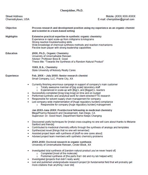 Critique My Resume by Chemjobber Critique My Resume