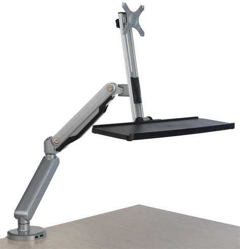 desk mount monitor arm with keyboard tray ports for usb