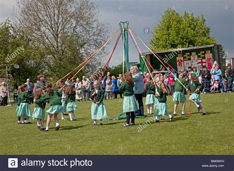 Woodmancote School Children Dancing Around Maypole On