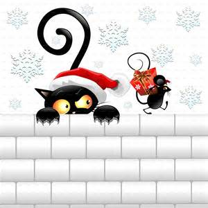 Funny Christmas Black Cat and Mouse